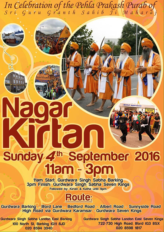 Nagar Kirtan 4th Sept 2016 from Barking to Seven Kings